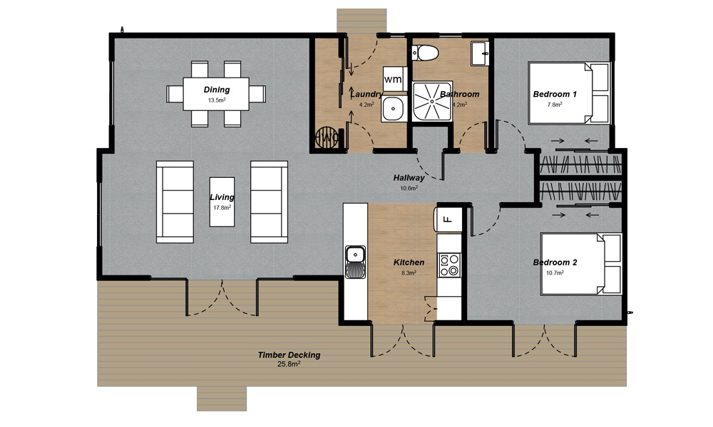 Kaitaia 2 bedroom Floorplan
