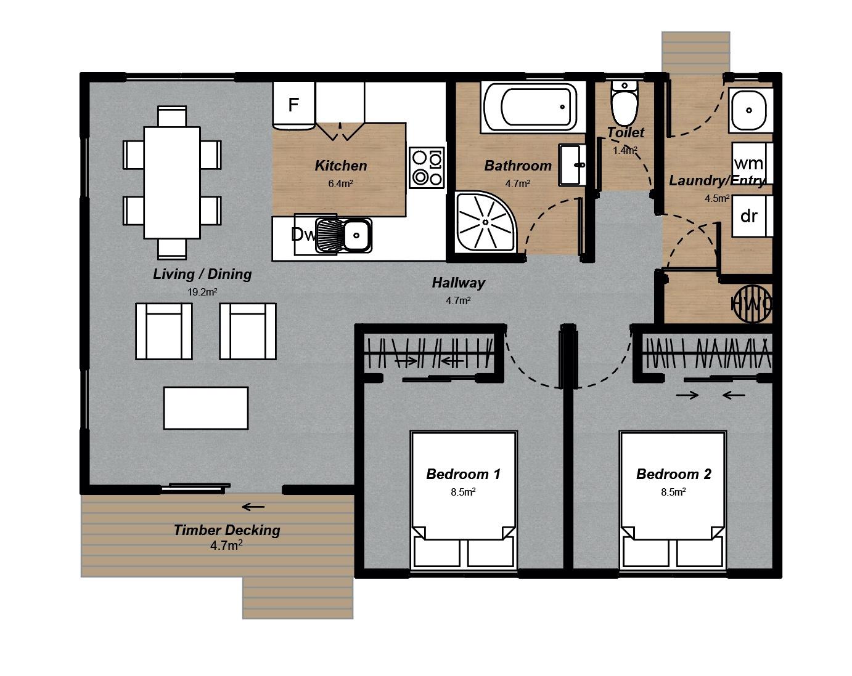 Oxford 2 bedroom Floorplan