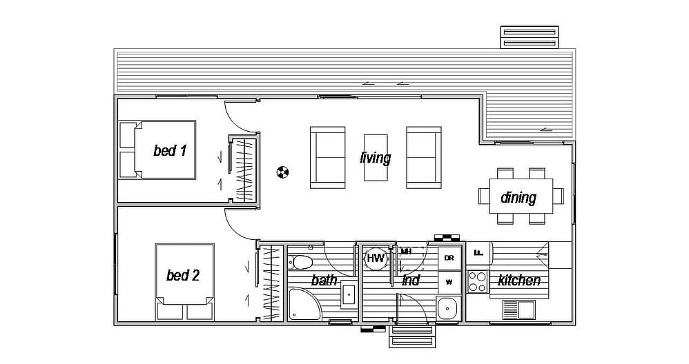 Euro - Floor Plan for 2 bedroom house