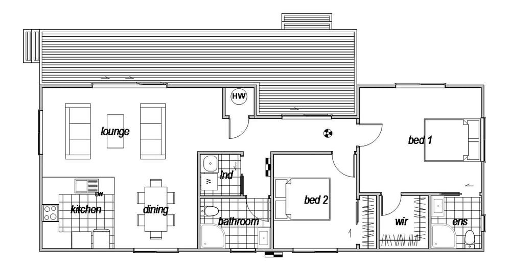 Tarras is a 2 bedroom prefab home by Genius Homes - floorplan