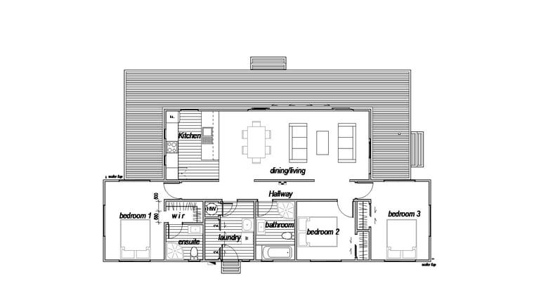 floor plan for three bedroom house