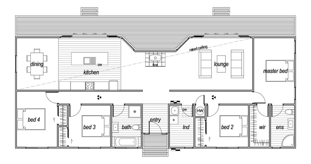 4 bedroom prefab home floorplan