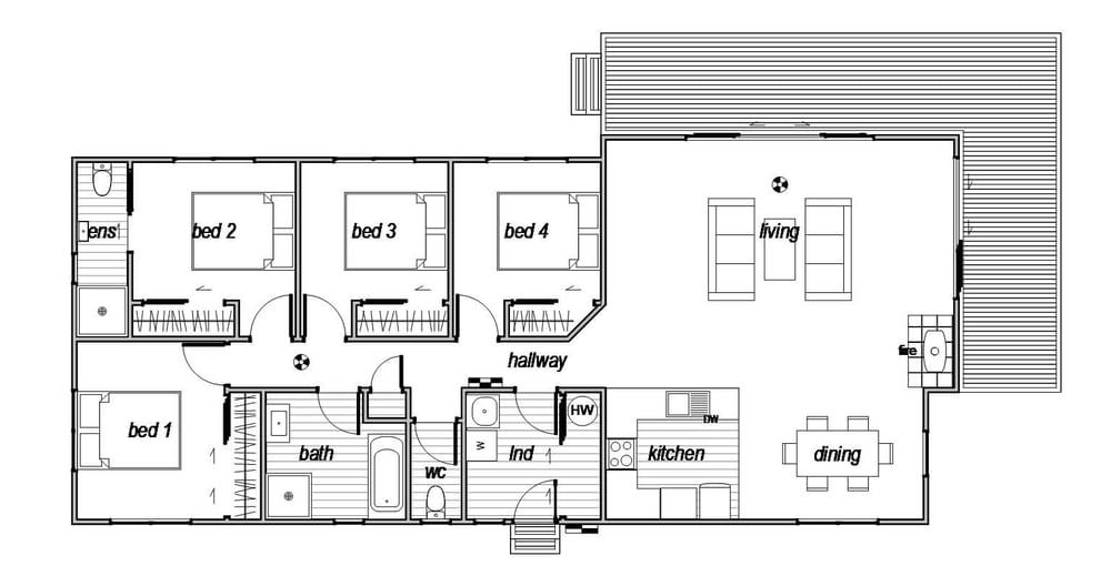 Sumner is a modern 4 bedroom prefab home - floorplan