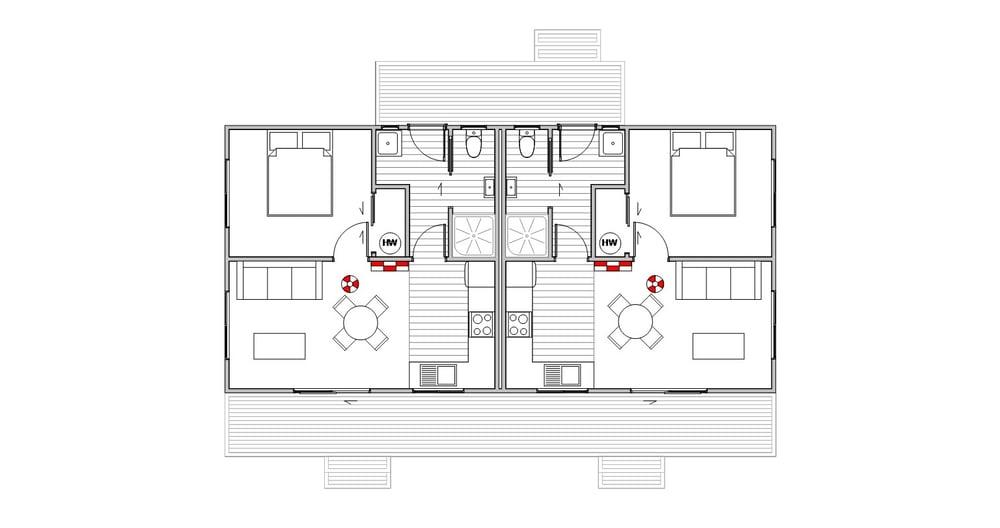 Staff Quarters Twin - Floor Plan