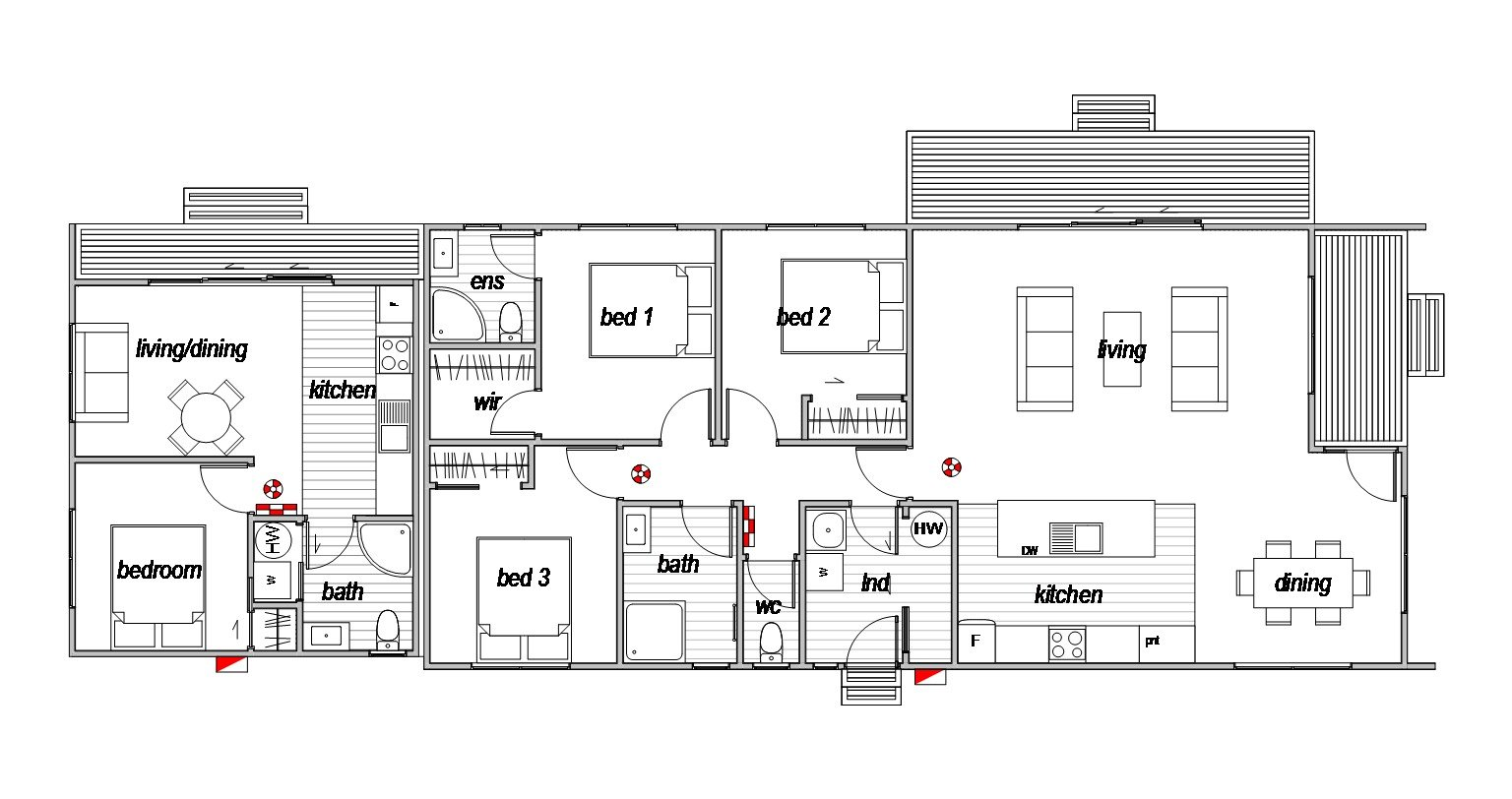 Aviemore 3 bedroom floorplan with 1 bedroom annex