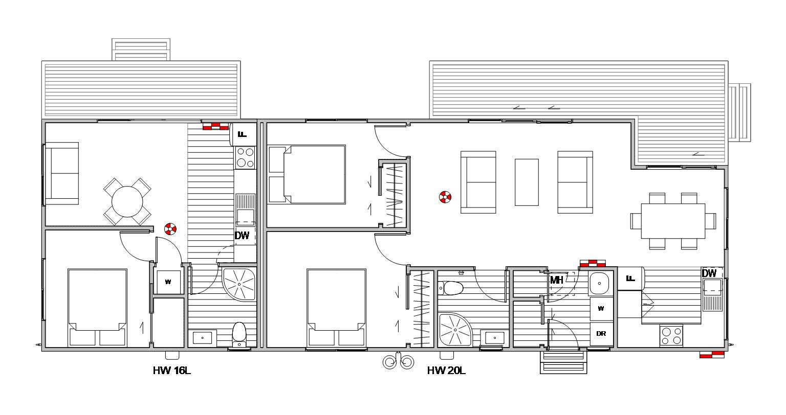 Roxburgh 2 bedroom floorplan with 1 bedroom annex