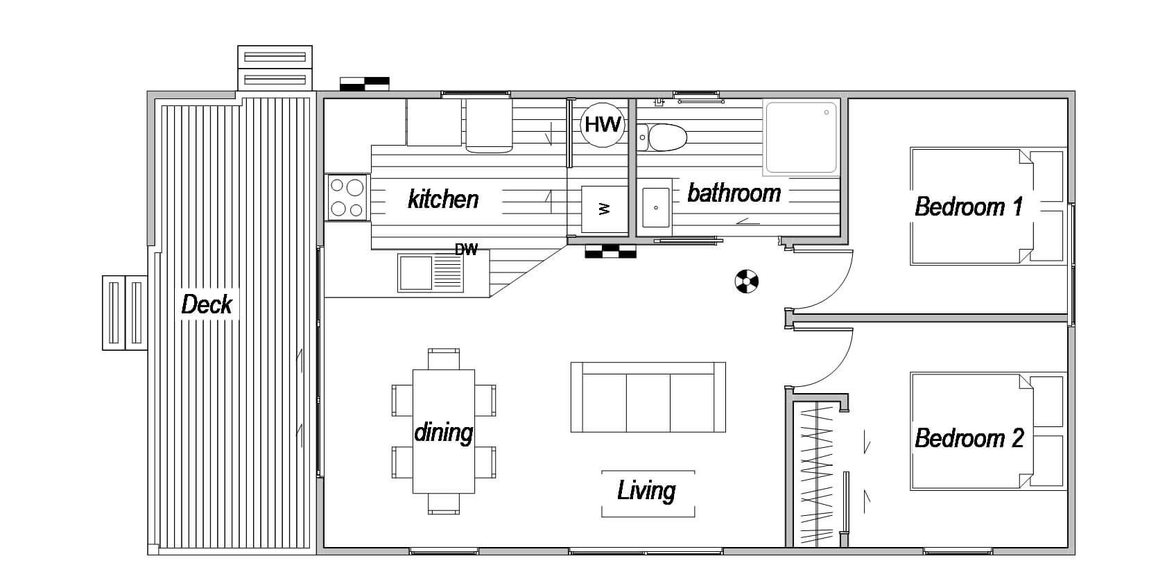 Moeraki 2 bedroom floor plan