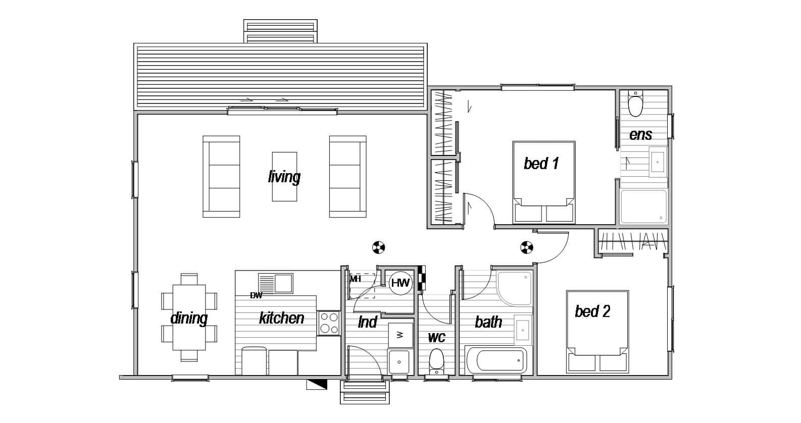 Ohau genius homes 2 bedroom floor plan