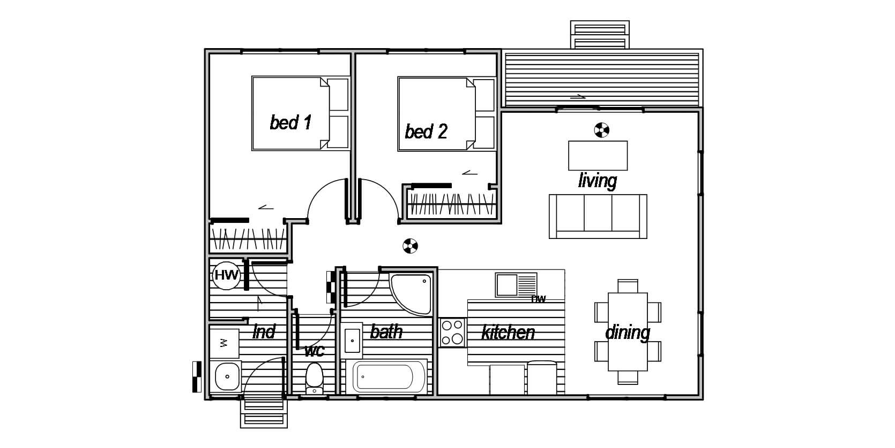 Oxford 2 - Floor Plan prefab transportable tiny house design