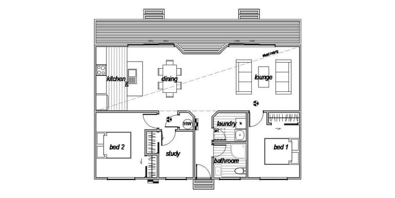 Compact 2 bedroom floorplan