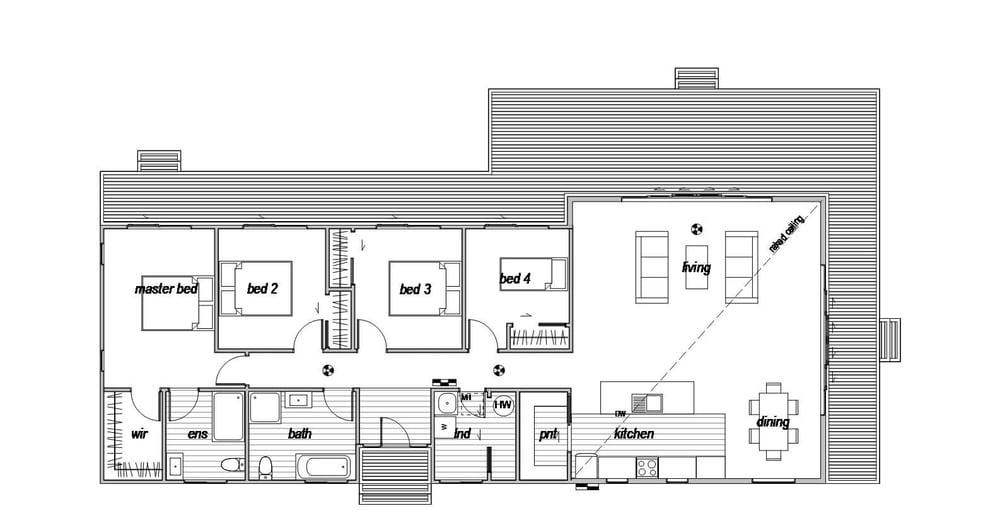 Four bedroom house floor plan