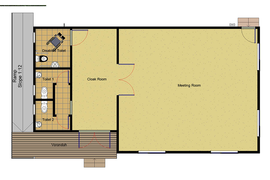 Classroom with toilets and cloak room Floorplan