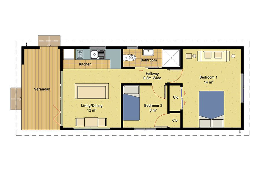 Genius 2 bedroom homes prefabricated homes for Kitchen design 4m x 5m