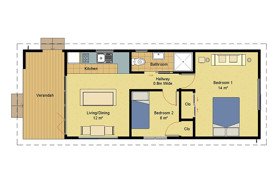 Genius 2 bedroom homes prefabricated homes for Kitchen design 5m x 6m