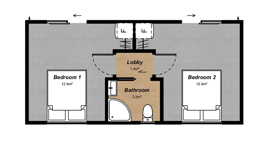 Mono accommodation floorplan