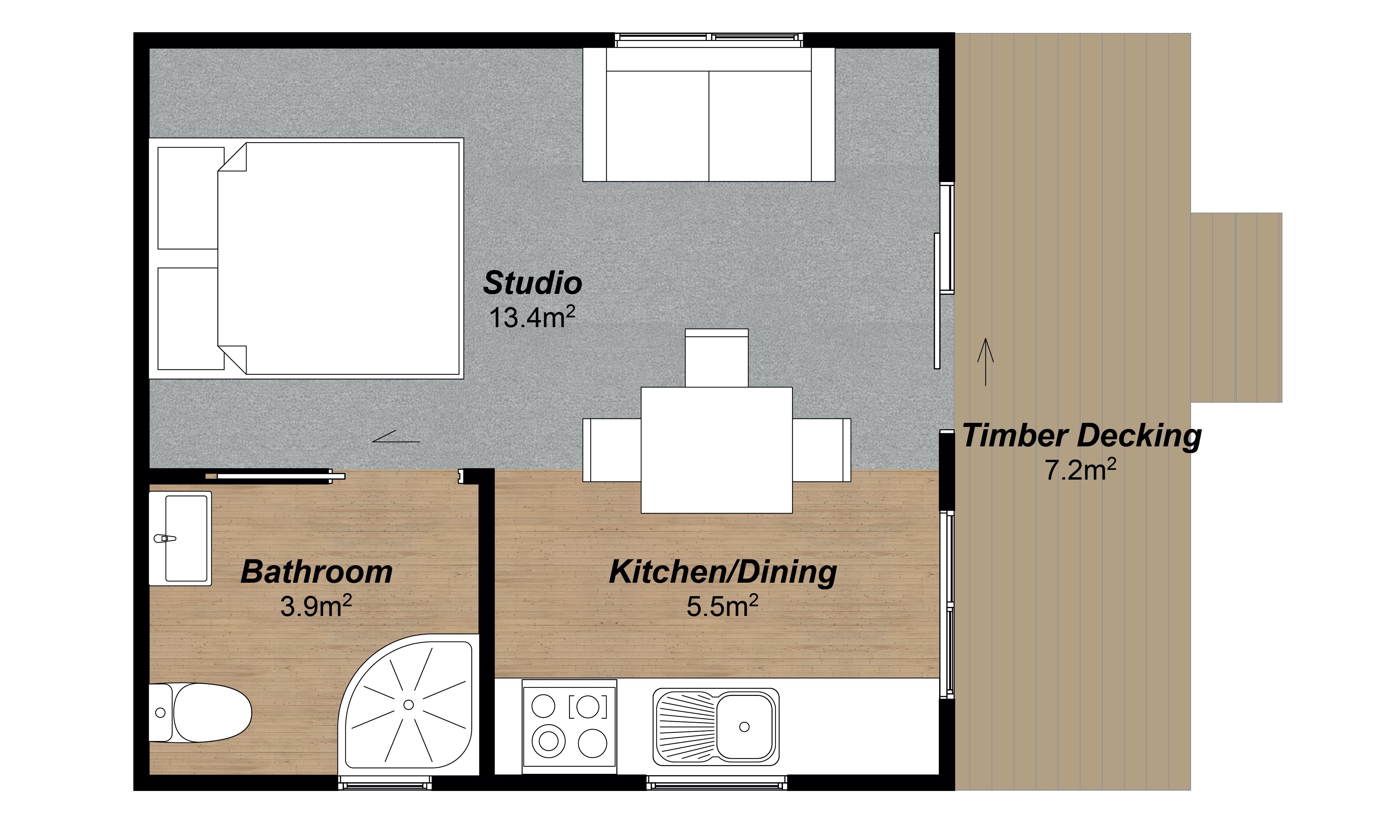 Horizon 1 bedroom rental kitset