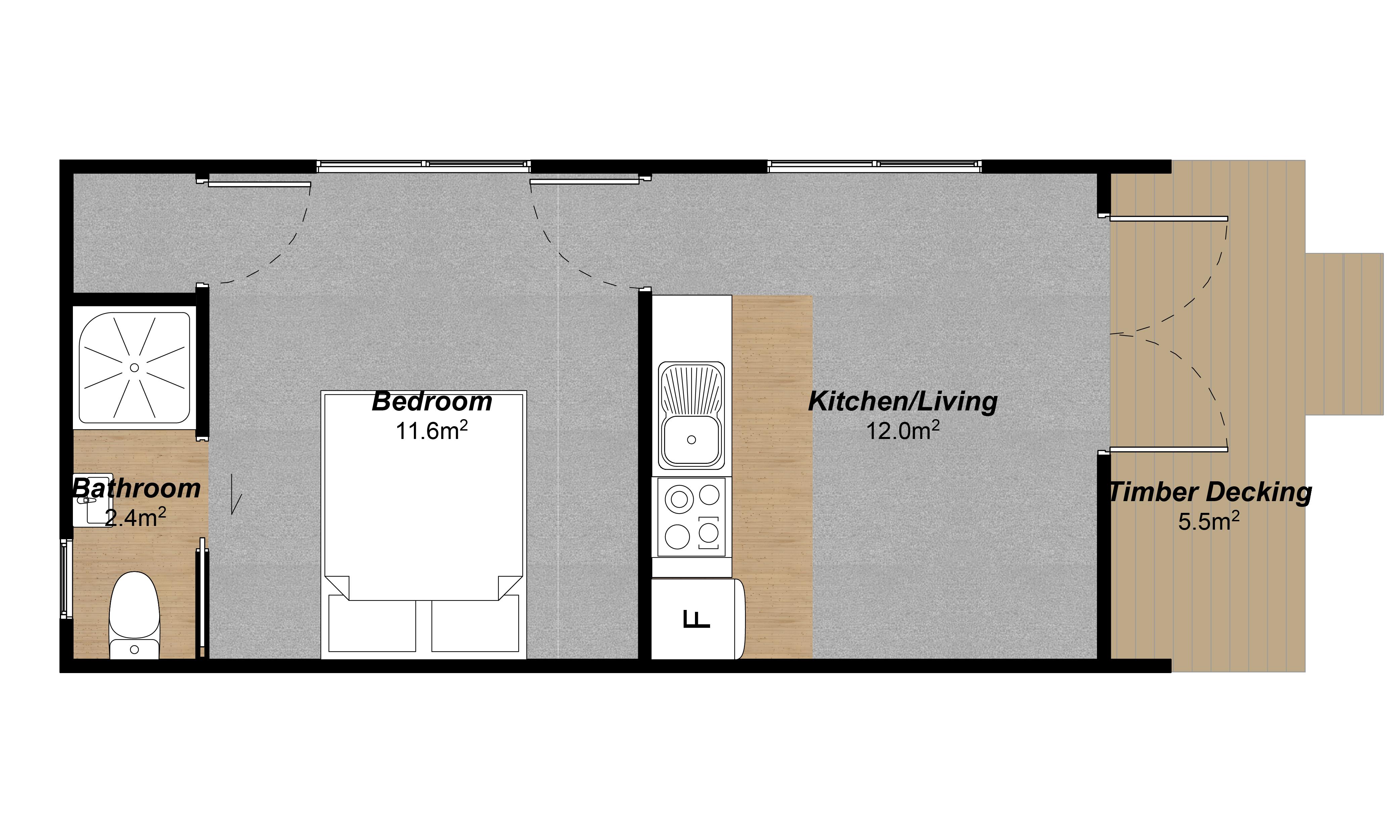 Kiwi 1 bedroom prefab house floor plan