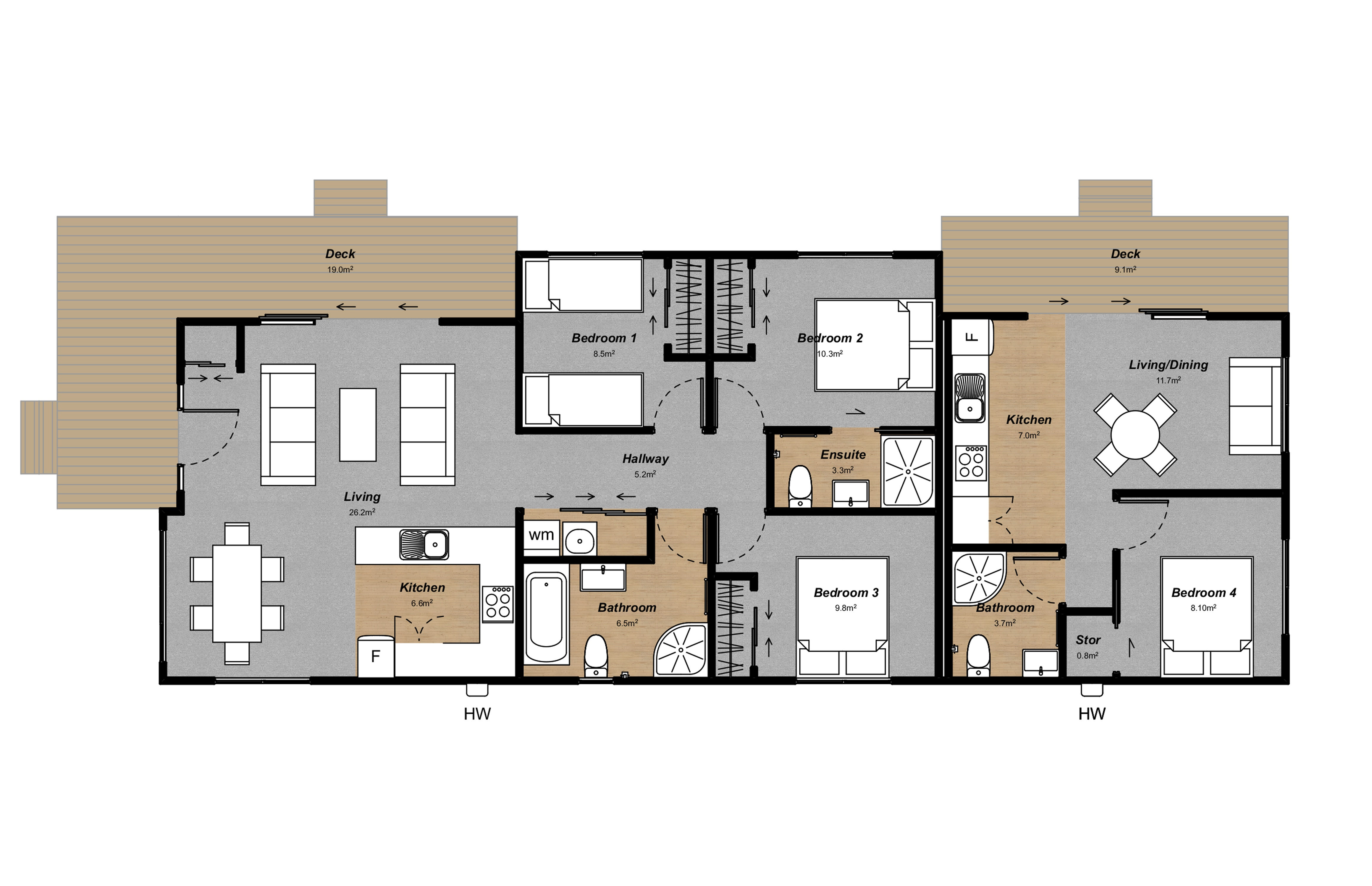 3 bedroom home plan with annex