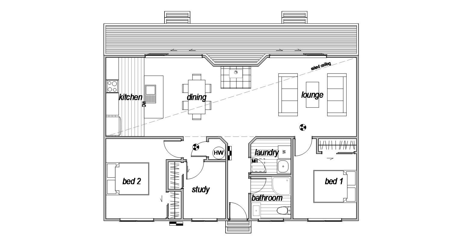 Compact 2 bedroom floorplan