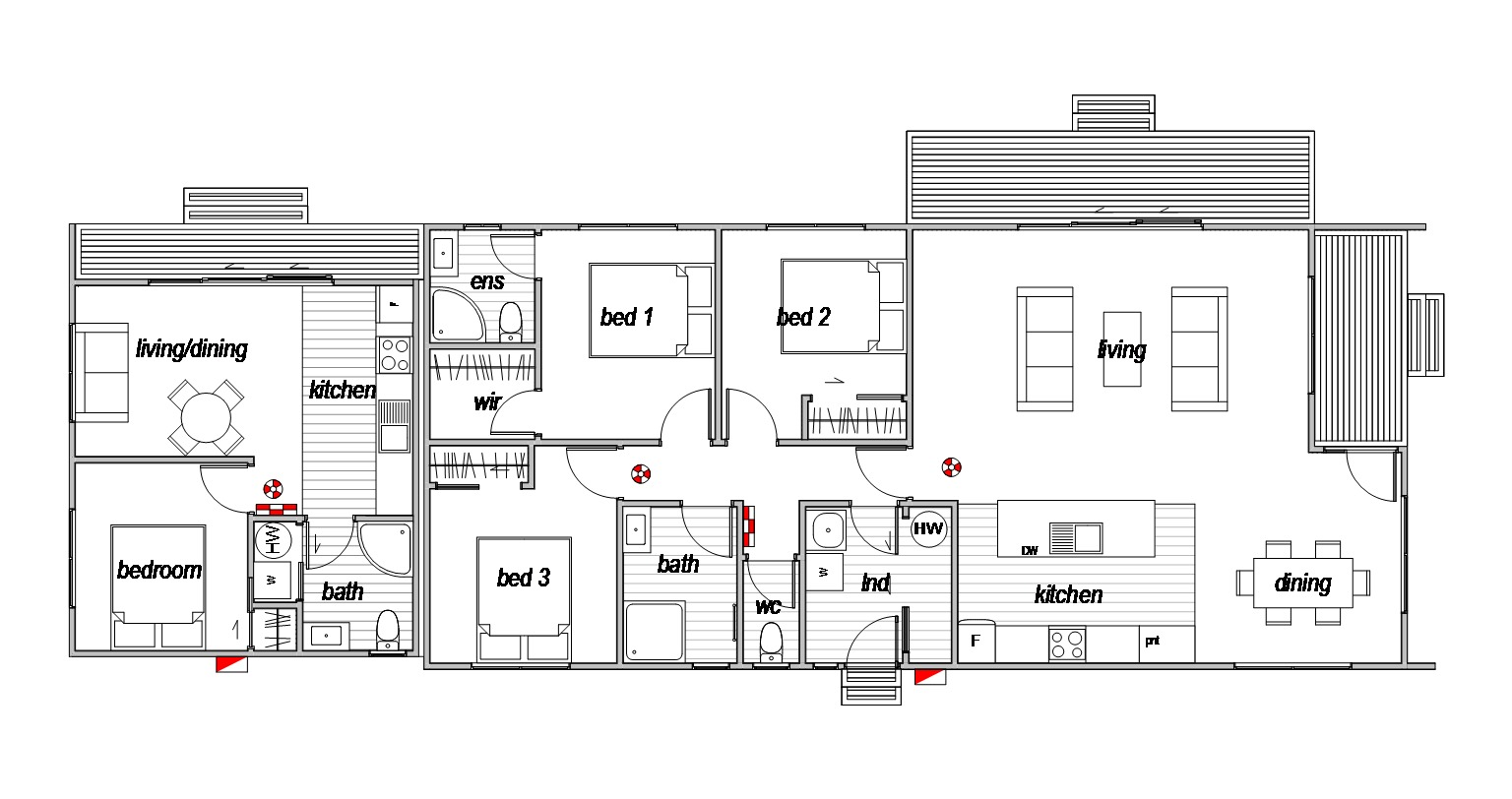 Aviemore floorplan for a 2 bedroom home with self contained 3rd bedroom uniti