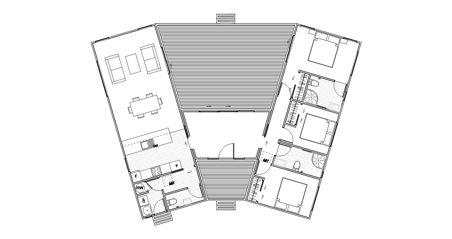 Hawea floorplan for a three bedroom home