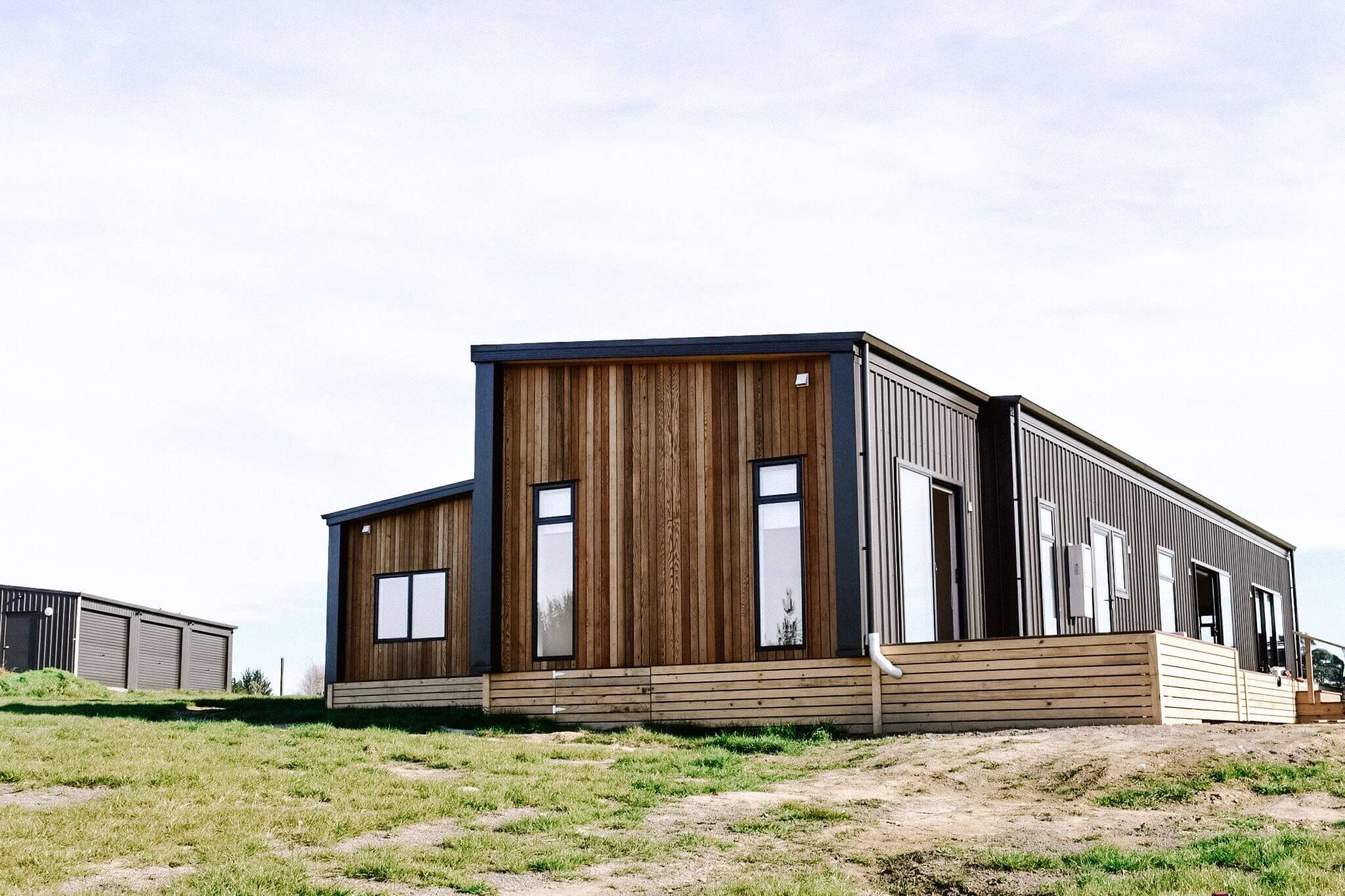 Genius Homes Feature prefab home cladding - cedar
